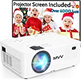 MVV 6500 Lux 1080P Projector with 100'' Screen,...