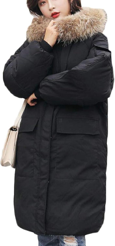 RGCA Womens Mid Long FauxFur Collar Quilted Outerwear Boyfriend Down Coat
