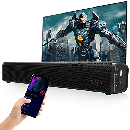2.1 CH Sound Bar with Built-in Subwoofer 50W 16 inch 3D Surround Sound TV Speaker Opt/AUX/USB/TF/Bluetooth Connection, 6 EQ Modes for TV/DVD Player/PC/Gaming/Phones