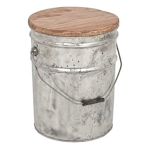 LEBENSwohnART Tonne Drum H39cm Metall Abnehmbarer Holzdeckel Kücheneimer
