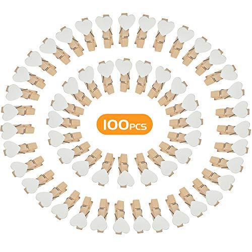 NETUME 100 Stück Kleine Holzklammern Weiß, 3.5cm Herz Aus Holz Mini Wäscheklammern, HolzwäScheklammern | Holz Wäscheklammern | Kleine Klammern | Dekoklammern für Fotos Aufhängen Foto Deko