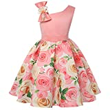 NSSMWTTC Flower Girls Dresses Child Christmas Halloween Easter Formal Bridesmaid New Year Knee Frocks (Peach,150)
