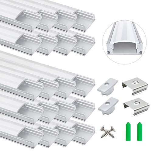 20-Pack LED Aluminum Profile, LightingWill LED Aluminum Channel 3.3ft/1Meter Silver U-Shape LED Diffuser With Milky White Cover, End Caps and Mounting Clips Aluminum Extrusion For LED Strip Lights U02