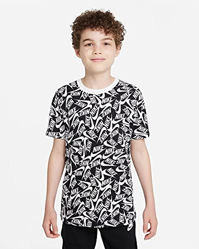 NIKE DH6560-010 B NSW tee Futura AOP T-Shirt Boys Black/White L