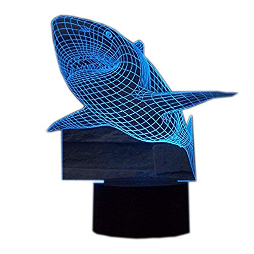 Preisvergleich Produktbild Ahat Romantische 3D Led Illusion Tisch Schreibtisch Deko Lampe 7 Farben ändern Nacht Licht für Schlafzimmer Home Decoration,  Hochzeit,  Geburtstag,  Weihnachten und Valentine Geschenk(Hai)
