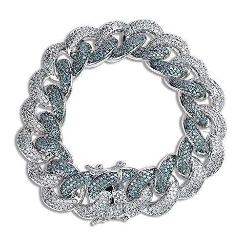 Moca Jewelry Iced Out - Pulsera de moda de esmeralda chapada en oro de 18 quilates con diamantes de imitación de circonita cúbica para hombres y mujeres