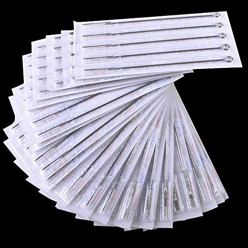 Auped 50Pcs Mix Agujas de tatuaje estériles desechables 3RL 5RL 5RS 5M1 7RL 7RS 7M1 9RL 9RS 9M1 Kit de herramientas de tatuaje profesional para revestimiento de acero inoxidable redondo.