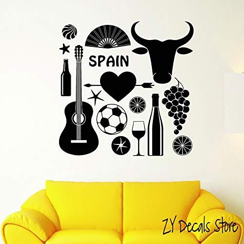 QIEGAO España símbolo taurino Pared calcomanías fútbol con Guitarra Pegatina de Pared para Sala de Estar Arte Mural Papel de pared-56x56cm