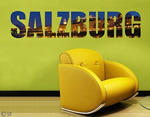 Wandtattoo No.SF796 Salzburg Skyline Nacht Lichter Österreich Europa