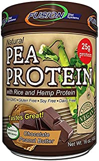 Fusion Plant Based Vegan Protein Powder – Chocolate Peanut Butter Flavor, Enhanced with Hemp and Rice, Best Raw Plant-Based Meal Replacement Shake, 12 Servings, by Fusion Diet Systems