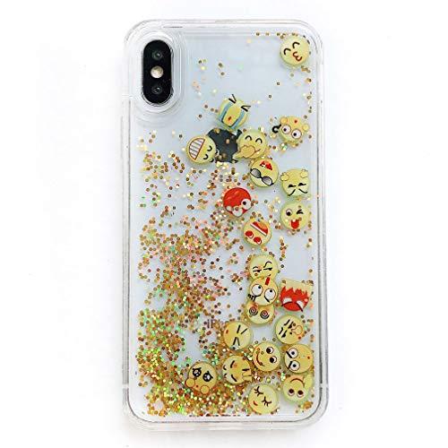 Keyihan Cover per iPhone 6S e iPhone 6 Glitter Liquido Custodia Antiurto Trasparente Disegni Divertenti Brillantini Paillettes Protettiva Case Rigida Morbida Silicone Paraurti 4.7  (Icone Emoji)
