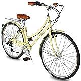 Micargi Roasca V7 Women's 700C City Bike Shimano 7 Speed Commuter City Bike Hi-Ten Steel Frame Lightweight Comfort Commuter Bike Beach Cruiser Bike Road Bike (V7-Vanilla)