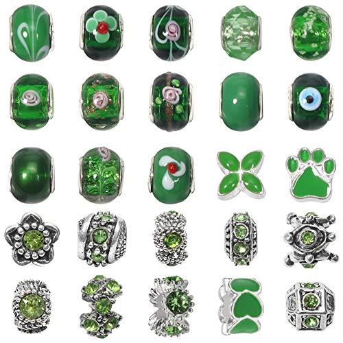 Toaab 50 abalorios europeos de plata antigua tibetana esmaltada, cuentas de aleación, estrás, cristal, perlas espaciadoras, temática verde para fabricación, joyas, pulseras y cadena de serpientes