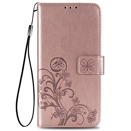 TANYO Hülle Geeignet für Alcatel 3X 2020, PU/TPU Leder Wallet Tasche Cover, Retro Blumen Muster Design, [Ultra Slim][Card Slot][Handyhülle] Flip Wallet Hülle (Rotgold)