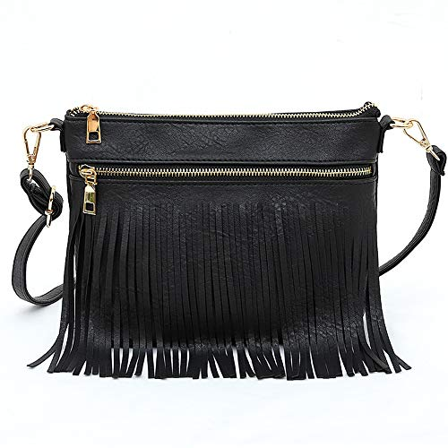 """👛 DIMENSIONS - 10.23""""L x 1.36""""W x 7.87""""H, Weight: 0.74 pounds. 👛 MATERIAL - Made of premium and durable PU leather. Stylish envelope design, with 3.7 inches fringe overhanging, one layer of tassel represents a special hobo attitude. It's the best gif..."""