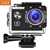 Action Camera, 12MP 1080P 2 Inch LCD Screen, Waterproof Sports Cam 120 Degree Wide Angle Lens, 30m Sport Camera DV Camcorder With with Rechargeable Batteries
