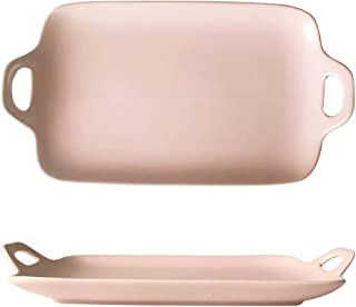 Grill Pans Ceramic Ears, Rectangular Breakfast Plate Anti-scalding, Household Snack Cake Grill Pans (Color : Pink)