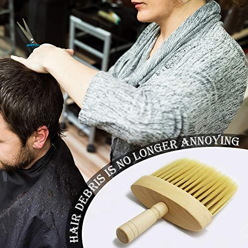 Wankd Cepillos de cuello, Mango de madera Salón Cuello Pelo Plumero Corte de cabello Cepillo de limpieza Herramienta limpia Suministros de peluquería Accesorios de peluquería