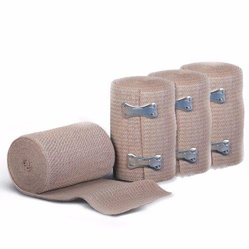 Wideskall® 5' Feet x 3' inch Elastic Compression Wrap Bandage w/Clips, 4 Rolls