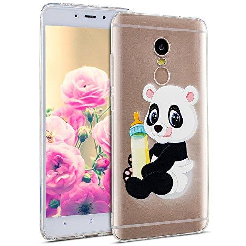Uposao Kompatibel mit Hülle Xiaomi Redmi Note 4X Silikon Handyhüllen Bunt Muster Transparent TPU Silikon Handyhülle Durchsichtige Schutzhülle TPU Weich Tasche,Panda