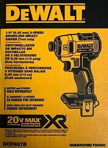 De-walt DCF887B 1/4' 3 Speed 20V 20 Volt Max XR Brushless Impact Driver (Bare Tool)