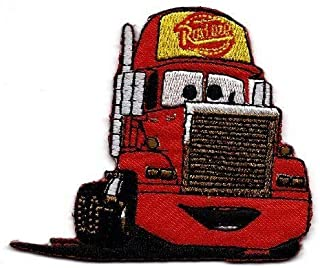 Mack Super-Liner Superliner Truck Carrying Lightning McQueen red Race car in Cars Movie Embroidered Iron On/Sew On Patch