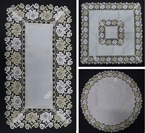centrino in Pizzo macramè per Tavolo o centrotavola - Varie Misure e Formati (Quadrato Set 2 Pezzi cm 29x29)