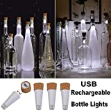 KZOBYD 4 Pack Rechargeable Bottle Lights Mini Cork Shaped Craft Lights USB Powered Fairy Cork Lights for Wine Bottles Party Décor Christmas Halloween Wedding (White)