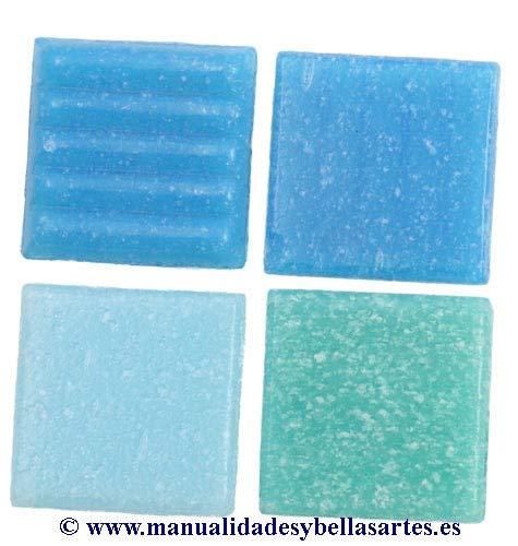 MosaixPro 200 g 20 x 20 x 4 mm 63-Piece en Verre, carrelage, Turquoise Mix