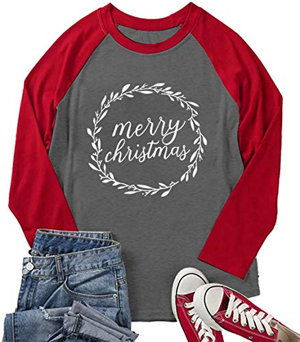 Plus Size Merry Christmas Baseball T-Shirt Women 3/4 Sleeve Holiday Splicing Tee Tops (XX-Large, Red)