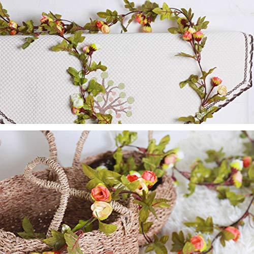 GANHUA kunstmatige klimop kleine rozen nep bloemen wijnstok slinger bruiloft home store decoratie plastic opknoping muur groene planten rotan blad