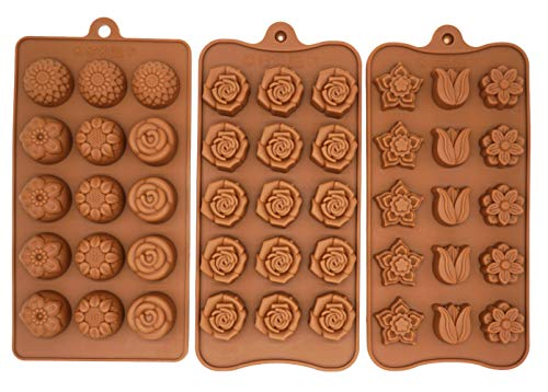 Poproo Flower 3-piece Gummy Candy Molds Set, Silicone Chocolate Molds Ice Cube Molds, Tulip Rose Sunflower Lotus Shapes