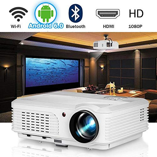 HD LCD bluetooth wifi-projector home bioscoop 1080P Wuxga ondersteuning 2019 Android 6.0 OS Smart TV videoprojectoren voor gaming outdoor entertainment met HDMI VGA Ypbpr USB audio luidspreker Fe