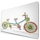 Großes dekoratives Gaming-Mauspad,Buntes Tandem-Fahrrad-Design auf weißem Clipa,lange Computermausmatte mit rutschfester Gummibasis für Büro/Spiele/Zuhause