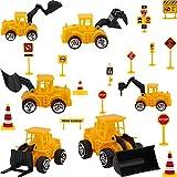 BETOY Camión de ingeniería Mini Modelos de construcción Vehículo de Construcción Juguete para Niños 3 4 5 años, incluye 6 piezas de cupcake y 14 piezas de pegatinas para decoración