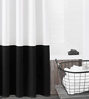 "Felisa Canvas Cotton Shower Curtain,Black and White Color Block Farmhouse Shower Curtain for Bathroom,Machine Washable,72""..."