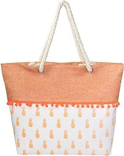 c21635e300 Me Plus Summer Large Beach Tote Bag Zipper Closure Braided Rope Handles  Inner Pocket