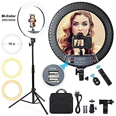 Ring Light 18 inch 55W Dimmable LED Ringlight with Tripod Stand and Phone Holder, Remote Control Bi-Color 3000K-6500K Circle Lighting for Vlog, Makeup, YouTube, Camera, Photo, Video, Selfie, Beauty