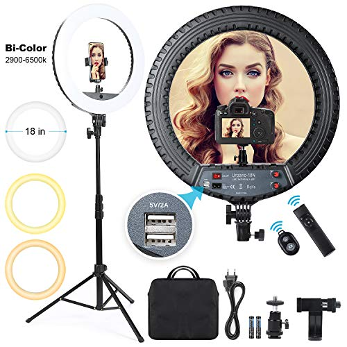 Ring Light 18 inch with Tripod Stand and Phone Holder, Outer 55W Remote Control 3000K-6500K Dimmable Selfie LED Ringlight kit for iPhone/Live Streaming/Makeup/Beauty/Photography