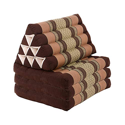RM Design Thai - Cojín triangular con 3 cojines, esterilla de yoga de algodón con relleno de kapok, cojín exterior KOH Samui 160 x 50 x 8 cm, color marrón