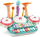 Besandy 5 in 1 Musical Instruments Toys - Kids Electronic Piano Keyboard Xylophone Drum Toys Set with Light 2 Microphone for Suitable for Children Over 3 Years Old