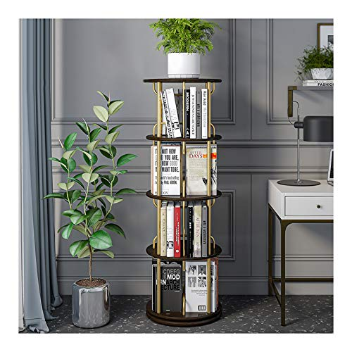 xiaokeai Bookcase shelf Creative Revolving Bookcase Solid Wood Partitions and Golden Metal Tubes Book Shelf Simple Floor-to-Ceiling Round Bookcase ,Save Space Bookshelf Display