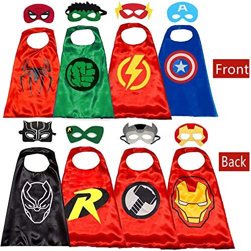 Belvita Superhelden-Umhang für Kinder, 8 Helden, wendbar, Satin-Umhang und Masken für Kostüme (4 Umhang, 8 Masken) Gr. 31-35, rot (2)
