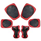 Sports Protective Gear Safety Pad Safeguard (Knee Elbow Wrist) Support Pad Set Equipment for Kids Youth Roller Bicycle BMX Bike Skateboard Hoverboard Protector Guards Pads