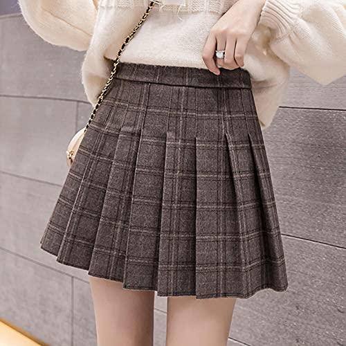 Falda Mujer A Cuadros A-Line Faldas De Mujer De Cintura Alta Estilo Preppy Damas Otoño Faldas Plisadas...