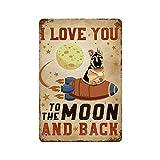 Gearsly Cartel de metal retro con texto 'I Love You to The Moon And Back', con texto en inglés 'I Love You to The Moon And Back'