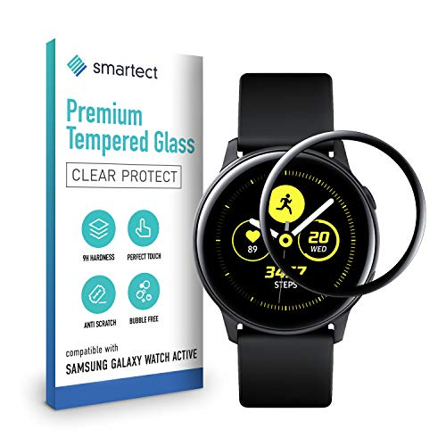 smartect 3D Schutzglas kompatibel mit Samsung Galaxy Watch Active [3D CURVED] - Tempered Glass mit 9H Härte - Schutzfolie bedeckt ganzes Display komplett - Full Cover