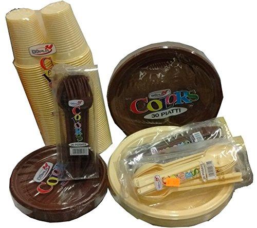 Set tavola party piatti bicchieri posate in plastica Marrone Cioccolata e Crema Ocra