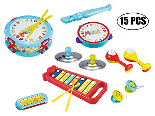 15 Pieces My First Musical Instrument Set Ideal for Toddler Band Set Great for Kids Early Learning Musical Toy Instruments