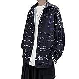 Camisa de Manga Larga con Estampado Suelto de otoño, versión Coreana Masculina de la Tendencia, Camisa Informal de Graffiti con Manga de Linterna XXL